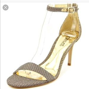 Beautiful metallic gold glittery heels sandals